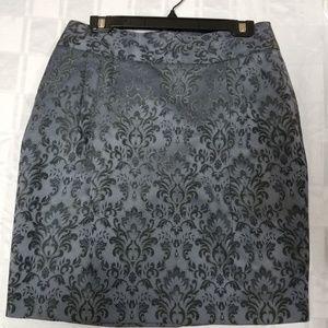 NWOT Ann Taylor Gray Paisley Skirt size 8